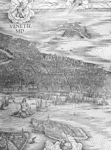 Grande Pianta Prospettica - Venice, C.1500 (Engraving) (Middle Section) Stretched Canvas Print