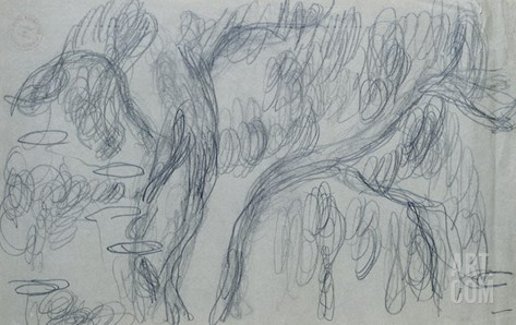 Reflections of Willows, C.1918 (Black Crayon on Blue-Gray Paper) Stretched Canvas Print