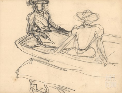 Young Girls on a Boat (Pencil on Paper) Stretched Canvas Print