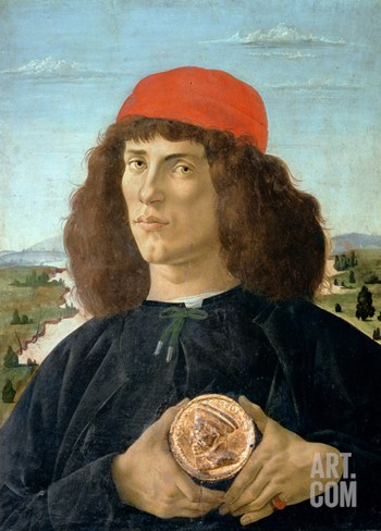 Portrait of a Young Man Holding a Medallion of Cosimo I De' Medici ('The Elder') (1389-1463) Stretched Canvas Print