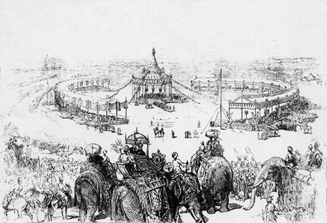General Bird's-Eye View of the Imperial Durbar at Delhi, Published in the Illustrated London News Stretched Canvas Print