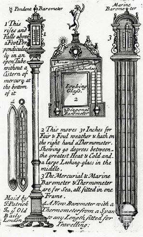 Advertisment for Barometers Made by John Patrick, C.1705-1715 (Engraving) Stretched Canvas Print