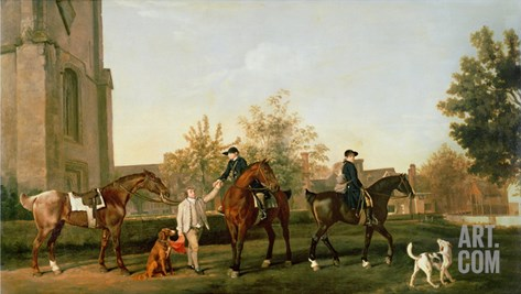Lord Torrington's Hunt Servants Setting Out from Southill, Bedfordshire, c.1765-8 Stretched Canvas Print
