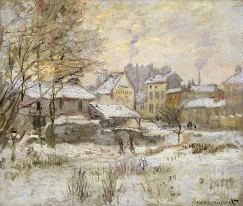 Snow Effect with Setting Sun, 1875 (Oil on Canvas) Stretched Canvas Print