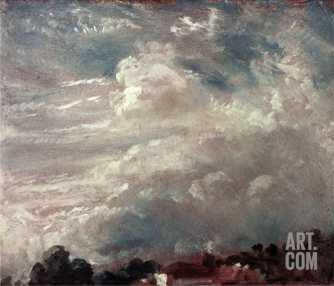 Cloud Study, Horizon of Trees Stretched Canvas Print