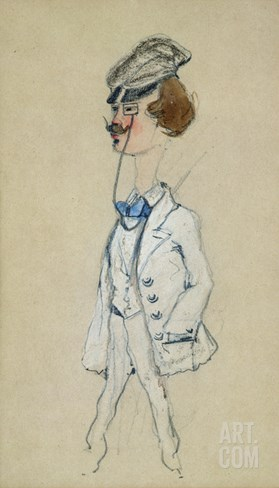 Young Man with a Monocle, 1857 (Pastel and W/C on Paper) Stretched Canvas Print