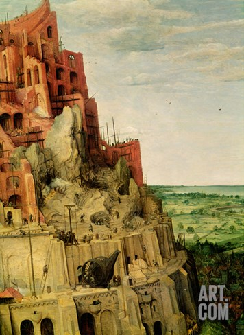 The Tower of Babel (Detail of 345) Stretched Canvas Print