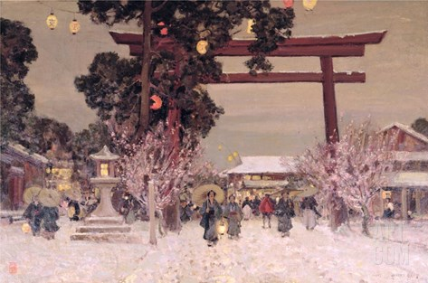 View of a Shinto Shrine, c.1889 Stretched Canvas Print