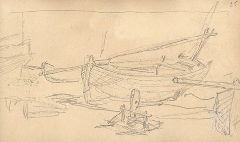 Fishing Boats on the Shingle at Etretat (Pencil on Paper) Stretched Canvas Print