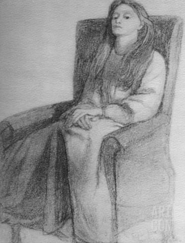 Elizabeth Siddal, C.1853 (Graphite on Paper) Stretched Canvas Print