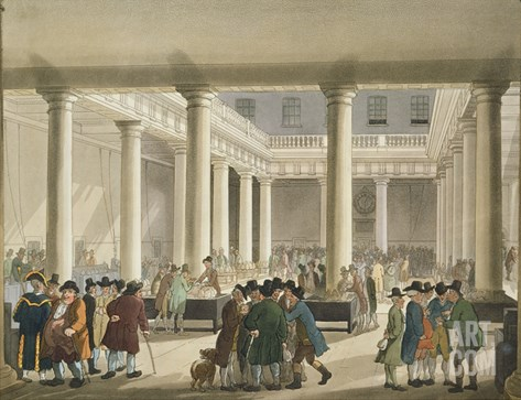 The Corn Exchange from Ackermann's 'Microcosm of London', 1808 (Aquatint) Stretched Canvas Print