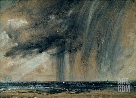 Rainstorm over the Sea, C.1824-28 (Oil on Paper Laid on Canvas) Stretched Canvas Print