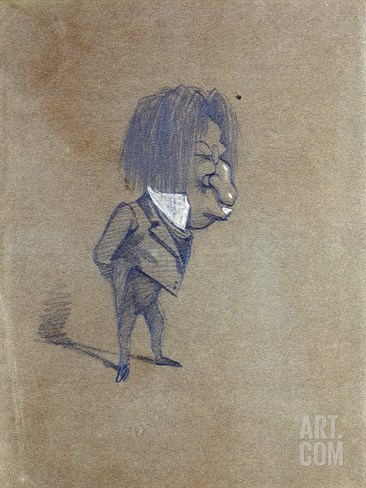 Caricature of Jules Husson (1821-89) 'Champfleury', 1858 (Pencil and Gouache on Paper) Stretched Canvas Print
