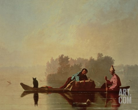 Fur Traders Descending the Missouri, 1845 Stretched Canvas Print