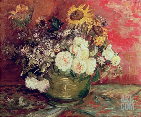 Sunflowers, Roses and Other Flowers in a Bowl, 1886 Stretched Canvas Print