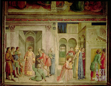St.Lawrence Receiving the Treasures of the Church and St.Lawrence Distributing Alms Stretched Canvas Print
