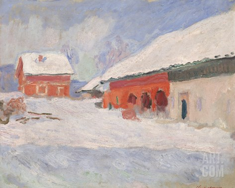 Norway, Red Houses at Bjornegaard, 1895 Stretched Canvas Print