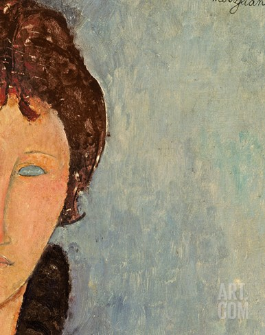 Woman with Blue Eyes, C.1918 Stretched Canvas Print