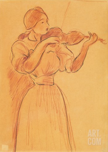 The Violin, 1894 (Pencil and Red Chalk on Paper) Stretched Canvas Print