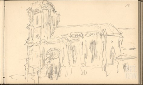 Church of Montjavoult (Pencil on Paper) Stretched Canvas Print