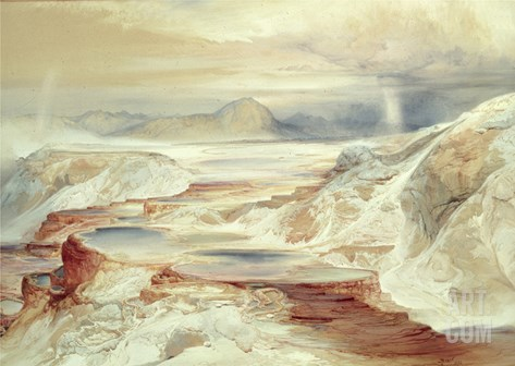 Hot Springs of Gardiner's River, Yellowstone, 1872 (W/C on Paper) Stretched Canvas Print