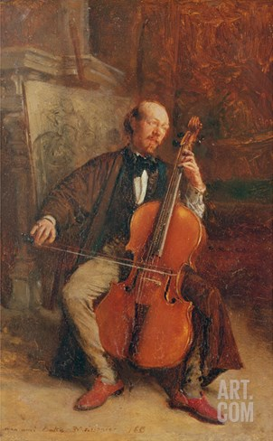 Alexandre Batta, the Cellist, 1855 Stretched Canvas Print