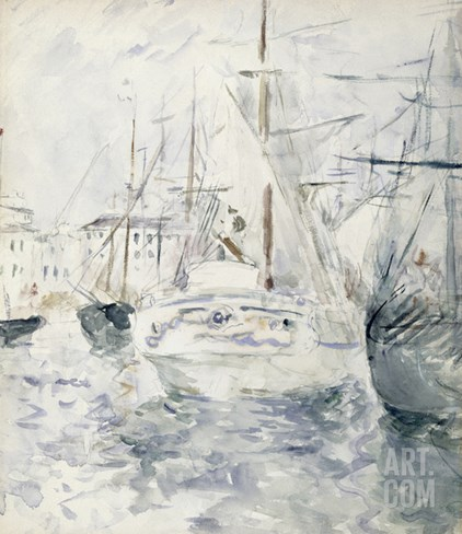 White Boat in the Port, Nice, 1881 (W/C on Paper) Stretched Canvas Print