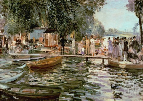 La Grenouillere, 1869 Stretched Canvas Print