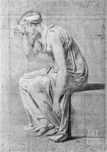 Camilla, Study for 'The Oath of the Horatii', C.1785 (Pencil on Paper) Stretched Canvas Print