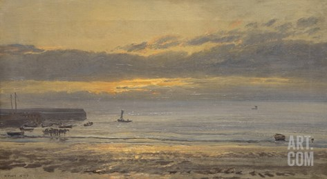 Before Sunrise, Scarborough - Low Water, 1878 Stretched Canvas Print