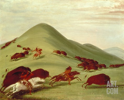 The Buffalo Hunt (Oil on Canvas) Stretched Canvas Print