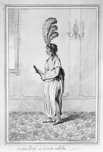 Ladies Dress, as it Soon Will Be, Published by Hannah Humphrey, 1796, (Etching) Stretched Canvas Print