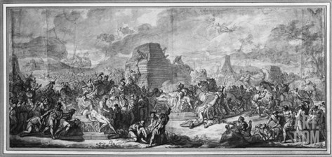 Funeral of Patroclus (Pen and Black Ink and Grey Wash and Pierre Noire on Paper) Stretched Canvas Print