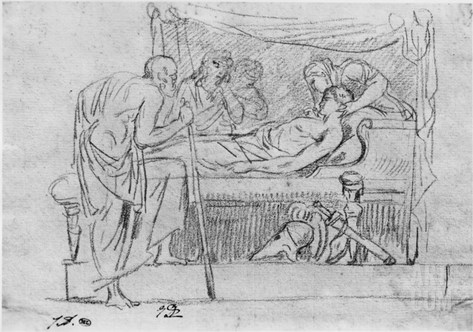 Death of Meleager (Black Pencil on Paper) Stretched Canvas Print