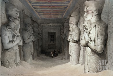 Interior of the Temple of Aboo Simbel, from 'Egypt and Nubia', Lithograph by Louis Haghe, 1849 Stretched Canvas Print