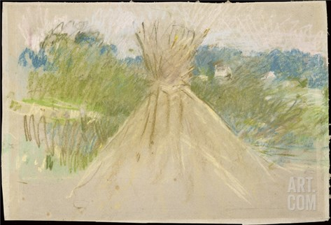 The Small Haystack, 1882 (Pastel on Paper) Stretched Canvas Print