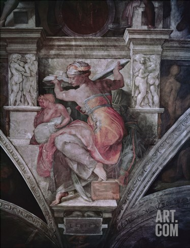 Sistine Chapel Ceiling: Libyan Sibyl, C.1508-10 (Fresco) Stretched Canvas Print