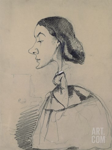 Young Woman at the Piano, 1855-60 (Black Crayon Heightened with White Pastel on Paper) Stretched Canvas Print