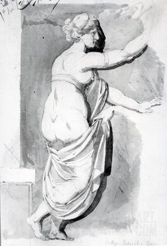 Figure Study from the 'Roman Album', 1770 (Pen, Ink and Wash on Paper) Stretched Canvas Print