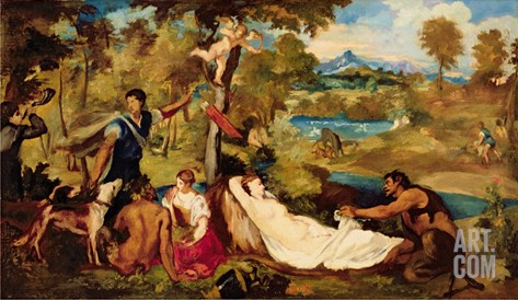 Jupiter and Antiope, 1856 Stretched Canvas Print
