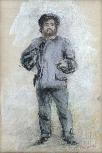 Portrait of Claude Monet (1840-1926) Standing, 1875 (Pastel on Paper) Stretched Canvas Print