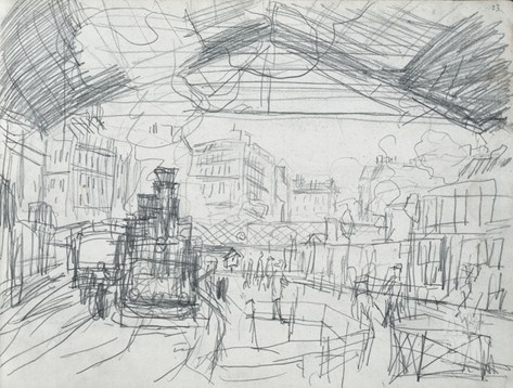 Sketch of the Interior of the Gare Saint-Lazare (Pencil on Paper) Stretched Canvas Print