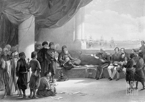 Interview with the Viceroy of Egypt at His Place in Alexandria, from 'Egypt and Nubia' Stretched Canvas Print