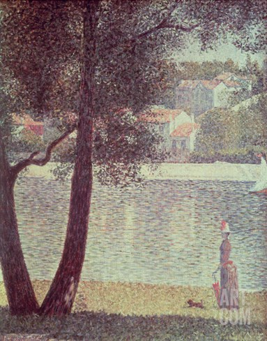 The Seine at Courbevoie, 1885 (Oil on Canvas) Stretched Canvas Print