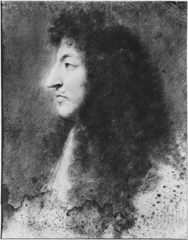 Portrait of Louis Xiv, Young, in Profile to the Left, C.1669-70 (Pastel on Grey Beige Paper) Stretched Canvas Print