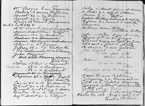 Pages from Monet's Account Book Detailing Names and Addresses (Pen and Ink on Paper) (B/W Photo) Stretched Canvas Print