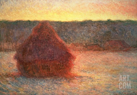 Haystacks at Sunset, Frosty Weather, 1891 Stretched Canvas Print