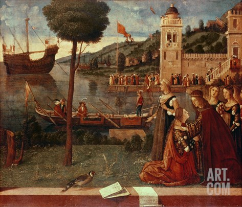St.Ursula Taking Leave of Her Father, C.1500 (Oil on Panel) Stretched Canvas Print
