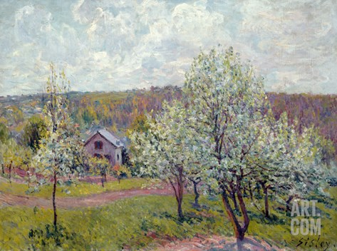 Spring in the Environs of Paris, Apple Blossom, 1879 Stretched Canvas Print