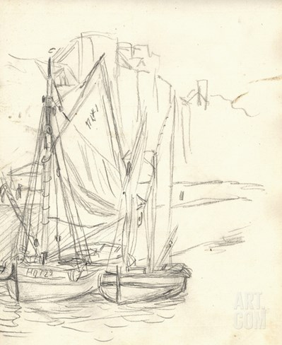 Boats in the Port at Honfleur (Pencil on Paper) Stretched Canvas Print
